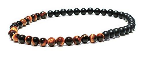 X-Large Tiger's Eye Yellow & Matte Onyx Wrap Bracelet for Men - Tigers Eye Yellow Bracelet - Onyx Bracelet for Men - Tigers Eye Wrap Bracelet by MeruBeads (Image #2)