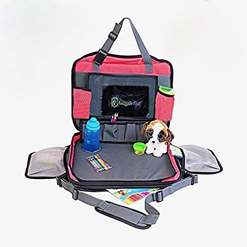 Kids Back Seat-Organizer & Lap-Tray, Large Travel Bag with Stable Lap-Tray Multifunctional Waterproof Car Organizer with Cup Holder & Shoulder Carrier Strap (Red)