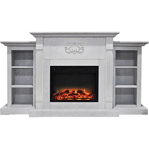 Cambridge CAM7233-1WHTLG2 Sanoma 72 In. Electric Fireplace in White with Built-in Bookshelves and an Enhanced Log Display