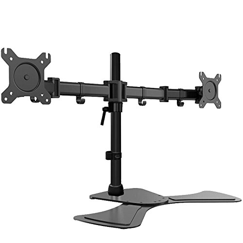 Thumb Position Two Clamp (FCH Monitor Mount Duel Monitor Arm LCD Monitor Freestanding Mount Fully Adjustable/Tilt/Articulating for 2 Screens up to 27