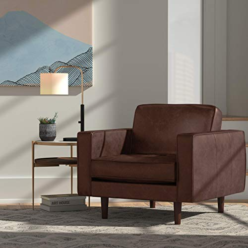 Rivet Aiden Mid-Century Leather Chair with Tapered Wood Legs, 35″W, Dark Brown - 3