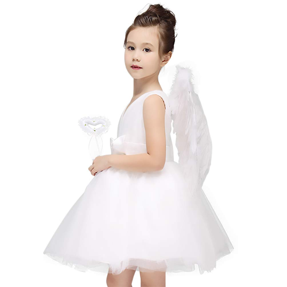 Woworld Dress with Feather Wings for Children Child's Angel Costumes from Age 4 to 15(XS) by Woworld (Image #2)