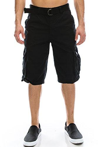 Mens Hipster Hip Hop Belted Premium Washed Black Cargo Shorts 30 ()