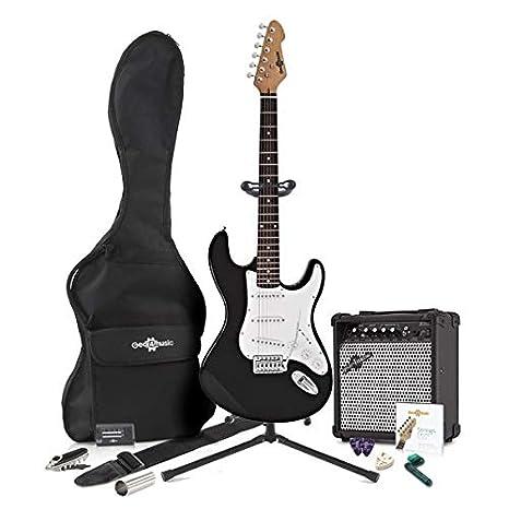 Guitarra Eléctrica LA + Pack Completo - Negro: Amazon.es: Instrumentos musicales