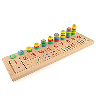 HLJgift Early Baby Learning Eductional Development Toys Montessori Wood Math Number Blocks Shape Teaching Tool Wood Board Preschool Toy Kid