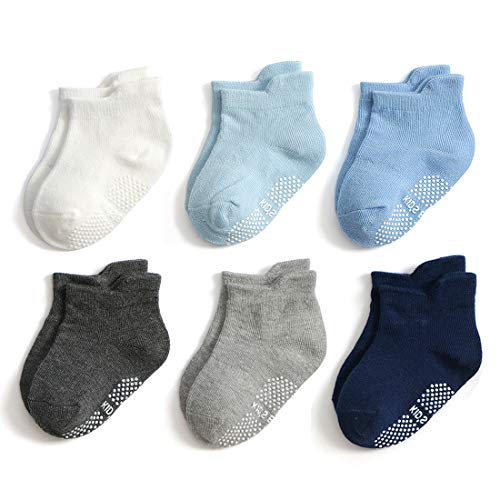 Infant Navy Blue Light - Epeius Unisex-Baby Non-Skid Socks Toddlers Boys Girls Grip Ankle Socks Non Slip/Anti Skid Tab Socks 6 Pair Pack,White/Grey/Dark Grey/Navy/Blue/Light Blue,12-24 Months