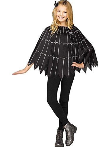 Fun World Little Girl's Spiderweb Child Poncho Childrens Costume, Black, Standard ()