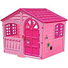 Palplay Kids Outdoor Playhouse - Colorful Pink & Purple Fun House