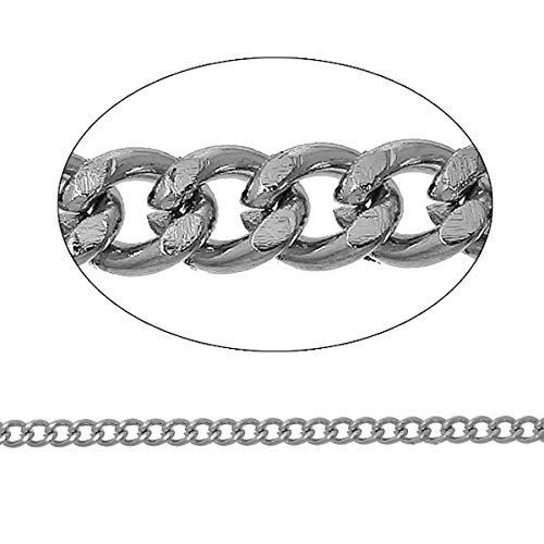Bulk Necklace Chain Silver Tone 16 Feet Curb Chain 5mm x 4mm ODSF-9186