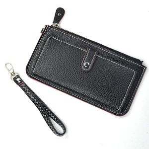 KLOUD City® Black synthetic leather leechee pattern women purse with an outer pocket
