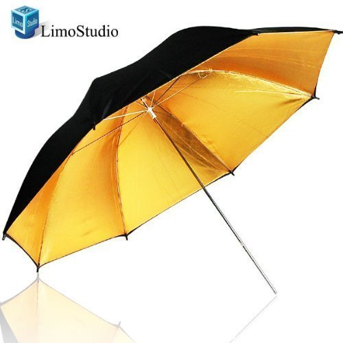 LimoStudio 53'' Wide 2 Layer Black and Gold Umbrella Reflector Diffuser Photo Video Umbrella Reflector, AGG137 by LimoStudio