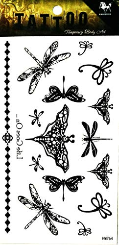 PP TATTOO 1 Sheet Butterfly Dragonfly Tattoos Body Art Stickers Color Flash Fake Waterproof Tattoo Stickers for Women Men from PP TATTOO