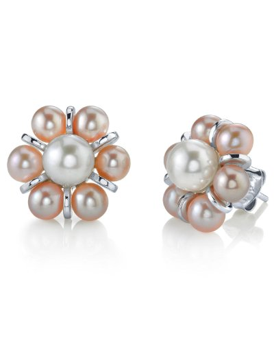 THE PEARL SOURCE 4-5mm Genuine Pink Freshwater Cultured Pearl Cluster Earrings for Women