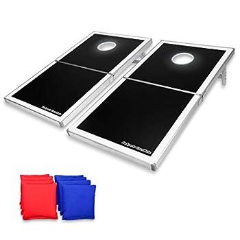 Image of GoSports Cornhole PRO Regulation Size Bean Bag Toss Game Set - Foldable (American Flag, LED, Black, Red & Blue Designs)