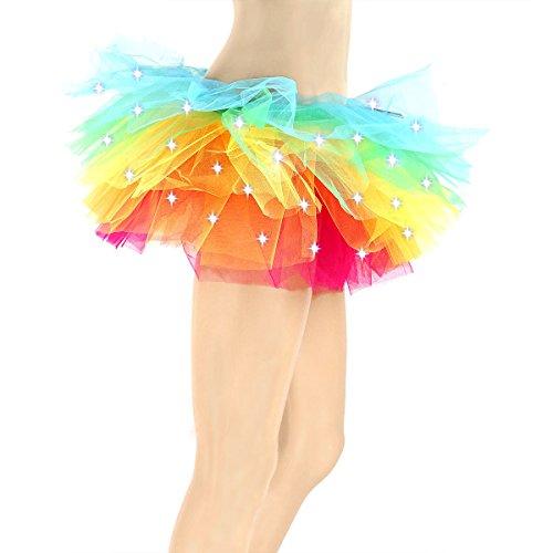 Tutus for Women, MARYSUN Adult Tutu Led Tutu Neon Rainbow Tutu Party Skirts for Girls 80s Clothes for (Neon Glow In The Dark Dresses)