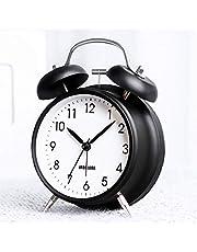 Bestcool Dubbel klocka väckarklocka, gammaldags väckarklocka med bakgrundsbelysning tickar inte skrivbordsklocka retro hög väckarklocka för tunga sovande sovrum kontor kök, svart (3 tum)