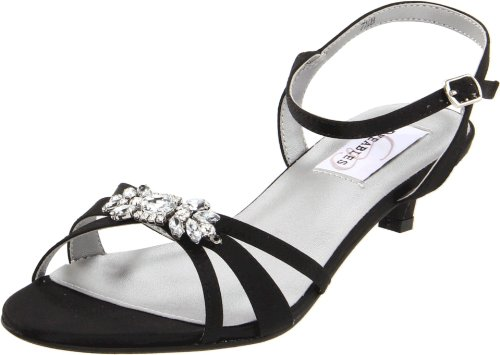Dyeables Women's Penelope Ankle-Strap Sandal,Black Satin,8.5 D US Adjustable Strap Adult Sandals