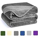 Charm Heart Luxury Fleece Blanket,350GSM Blankets Super Soft Warm Thick Blanket for Home Bed Blankets Queen Size, Dark Grey 90×90 in