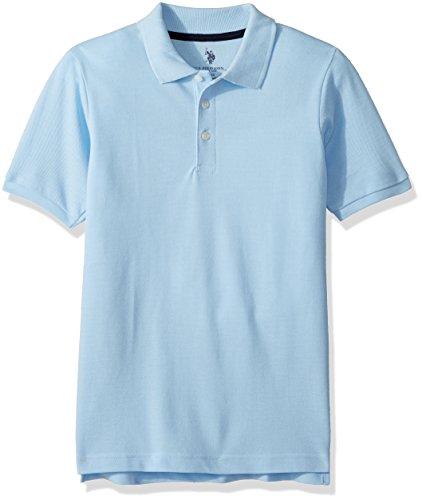 - U.S. Polo Assn. Boys' Big' New Short Sleeve Pique Polo Shirt, Light Blue, 10/12
