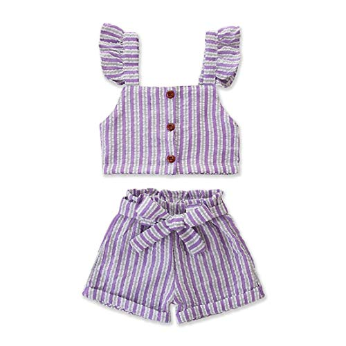 Girls Sleeveless Skirt Set - Toddler Kids Baby Girl Striped Ruffle Sleeveless Vest Top Bowknow Shorts Outfit Set Summer Clothes (Striped, 1-2 Years)
