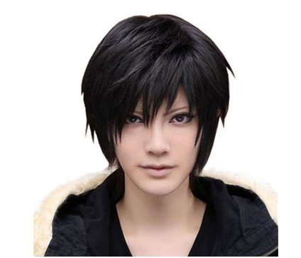 [Mermaid Men's Short Straight Hair Wig- Male Fashion Cool Black Wigs for Cosplay Costume Anime Show & Party & Performance] (Very Funny Costumes)