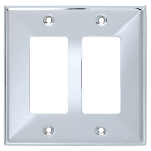 Double Chrome Plate (Franklin Brass 135878 Beverly Double Decorator Wall Plate / Switch Plate / Cover)