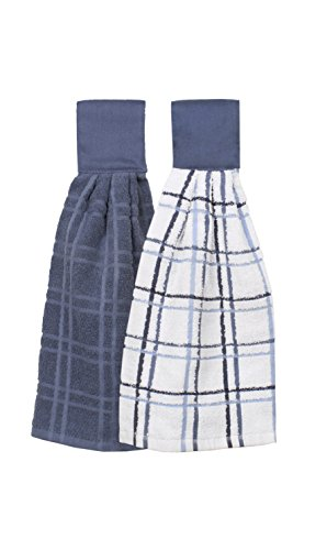 Ritz Kitchen Wears 100% Cotton Checked & Solid Hanging Tie Towels, 2 Pack, Federal Blue, 2 Piece