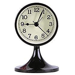 Danse Jupe Alarm Clock Round Vintage Non Ticking Battery Operated for Bedroom,Black