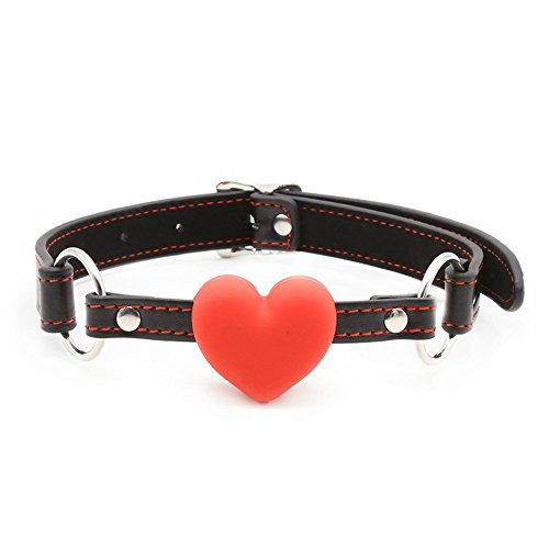 Adjustable-Leather-Collar-Open-Mouth-with-Red-Heart-Shaped-Ball
