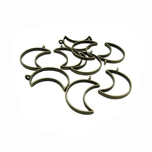20 Pcs Crescent Moon Open Bezels for Resin,Open Back Bezel Pendant Blanks for DIY Resin Crafts Jewelry Making