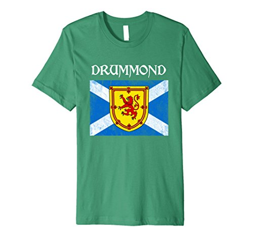Mens Drummond Scottish Clan Name T Shirt Lion Flag XL Kelly (Drummond Clan Shop)