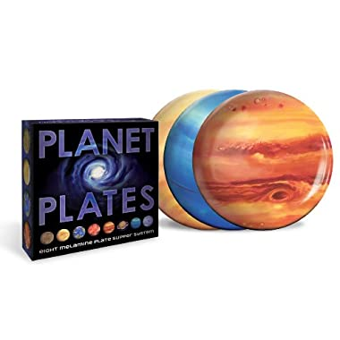 Planet Plates - Eight 10 Inch Melamine Astronomy Dinner Plates - By The Unemployed Philosophers Guild