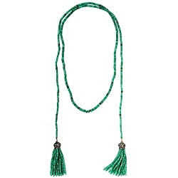 406 Cttw Emerald Beads Pave Diamond Tassel Lariat Necklace in 18K Yellow Gold & Sterling Silver