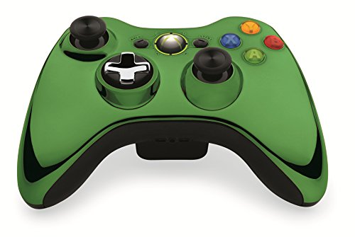 Custom Xbox 360 Controller Wireless Glossy Chrome Green (Wireless Xb360 Controller)