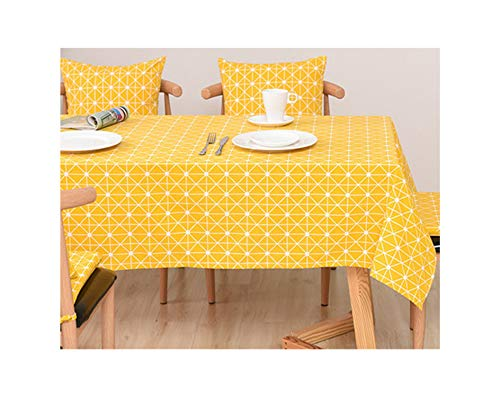 - SunnyWarm Geo Decorative Linen Wateroof Oilproof Thick Rectangular Wedding Dining Table Cover Tea Table Cloth,6,110X110Cm