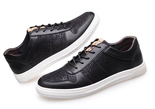 Hombres Casual Entrenadores Zapatos Cuero Encajes Moda Zapatillas Atlético Ligero Negro Al aire libre Blanco