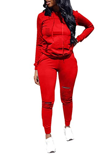Hole Pullover Hoodie Sweatpants 3 Piece Sport Jumpsuits Outfits Set (Red, XXXL) ()