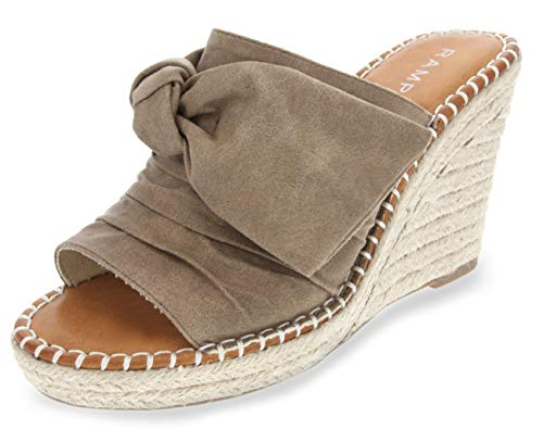 (Rampage Women's Hannah Espadrille Wedge Slide Sandal with Knotty Bow Detail 9 Taupe Distressed)