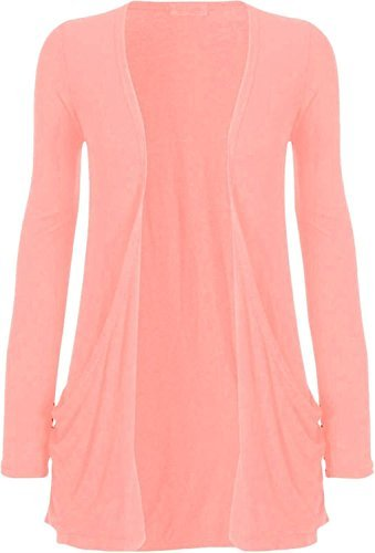 Hot Hanger Ladies Plus Size Pocket Long Sleeve Cardigan 16-26 – Medium – 6-8, Baby Pink