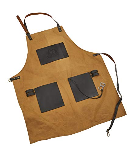 Pit Boss Grills 67285 Pit Boss Canvas and Leather Embossed Pockets and Bottle Opener BBQ Grilling Apron, Brown