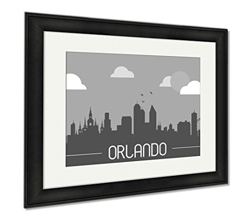 Ashley Framed Prints Orlando USA Skyline Silhouette, Modern Room Accent Piece, Black/White, 34x40 (frame size), Black Frame, - Disney Downtown Shops Orlando