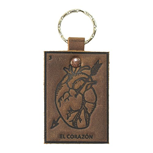 Lotería! Bourbon Brown Leather Keychain by Hide & Drink (El Corazón - Order Alloy Status