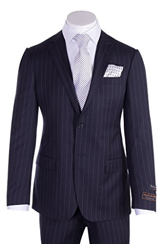 Pure Wool Suit - Tiglio Novello Navy Pin Stripe Modern Fit, Pure Wool Suit TIG1030