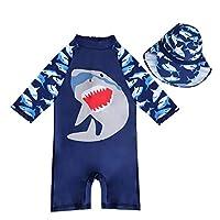 7-Mi Boys Sun Protection UPF 50+ Rash Guard Set Kids Swimsuit Shirt Trunk Set, Blue Shark, 4-5 years(41-45in)