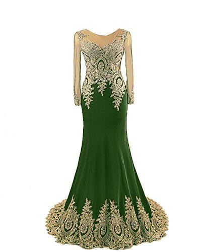 Embroidery Lang Green Gold Ballkleider rmeln Abendkleider Damen Fanciest mit xwFECqfnU