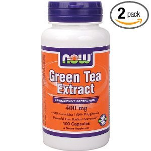 NOW  Green Tea Extract, 400mg,100 Capsules (Pack of 2)
