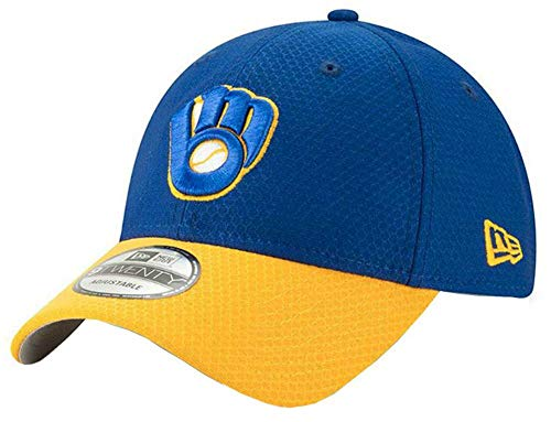 - New Era 2019 MLB Milwaukee Brewers Baseball Cap Hat ALT Bat Practice 9Twenty Royal/Gold