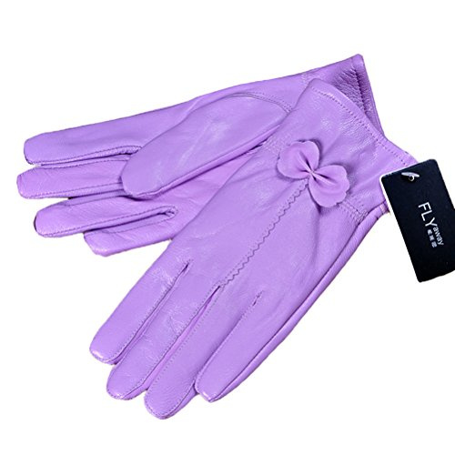 Leather Striped Glove (Fashion Bow Striped Genuine Leather Gloves Waterproof Driving Warm Winter Female Gloves (light purple))