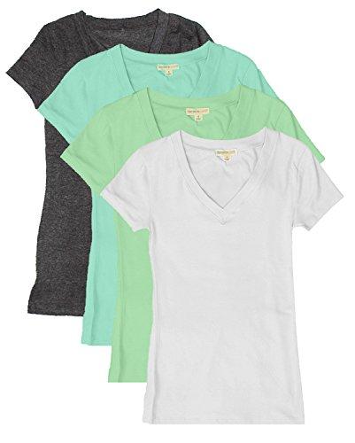Womens Cotton Sleeves T shirts Char aqu mint wh 1 product image