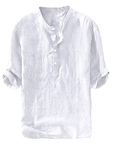 Gtealife Mens Linen Henley Shirt Casual 3/4 Sleeve T Shirt Pullover Tees V Neck Curved Hem Cotton Shirts Beach Tops (Medium, C-White)